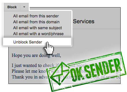 Unblock someone in Gmail